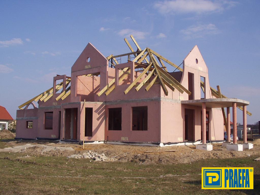 Keramzitové stěny - 75% keramzit, 15% písek a 10% cement